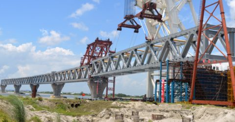 5th span of Padma Bridge installed, 750 meters now visible