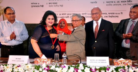 Runa Laila receives Firoza Begum Gold Medal
