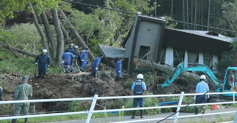 Japan quake, landslides leave at least 8 dead
