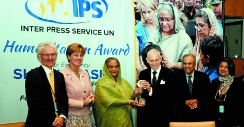 PM receives two international awards for hosting Rohingyas