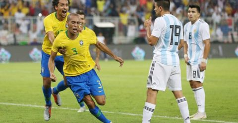 Miranda scores to give Brazil 1-0 win over Argentina