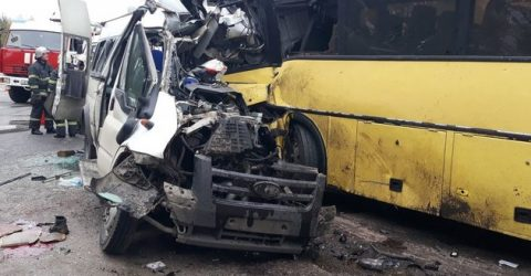 At least 13 killed in bus collision in western Russia