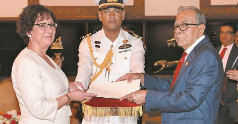 6 non-resident envoys present credentials  to President