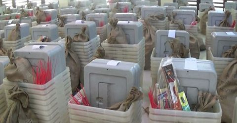 Poll materials sent to remote centers in Khagrachhari by helicopter