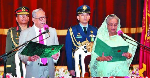 Hasina takes oath as PM with her 46 new cabinet members