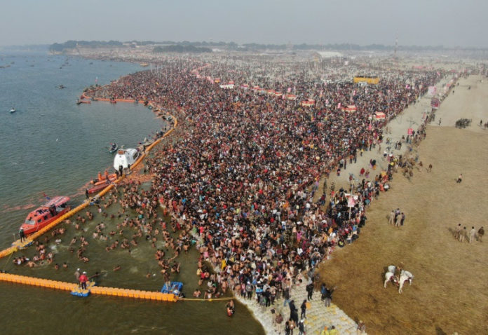 Millions take plunge in giant Indian religious festival