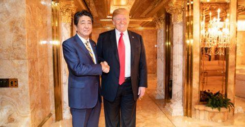 Trump arrives for sumo summit with Abe