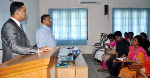 Chairman of the Department of Oceanography Introducing Information Minister to the Students
