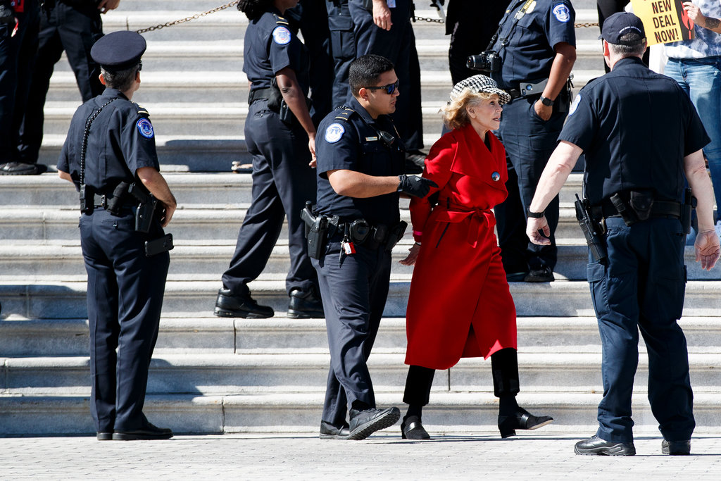 Jane Fonda arrested in climate protest at US Capitol