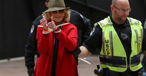 Jane Fonda under arrest again, in US climate protest