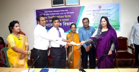 Distressed women get cheques in Khulna