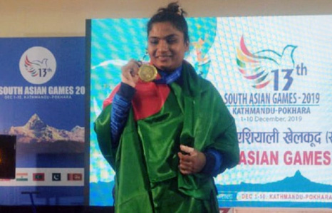 Mabia again snatches gold for Bangladesh in SAG weightlifting