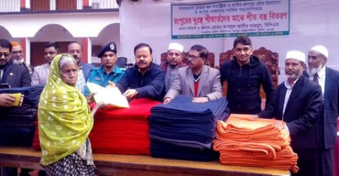 600 cold-hit people get warm clothes in Rangpur