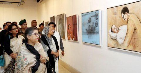 PM, Sheikh Rehana visit exhibition on Bangabandhu at Shilpakala Academy
