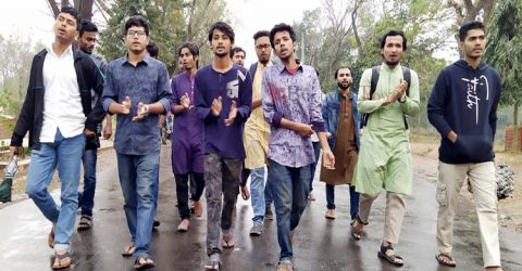 JU students protest over attack in India