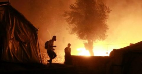 Thousands homeless as Greece's main migrant camp gutted by blaze