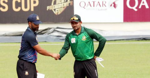 Tamim XI bats against Nazmul XI in BCB President's Cup