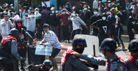 Police fire rubber bullets to disperse protesters in Yangon