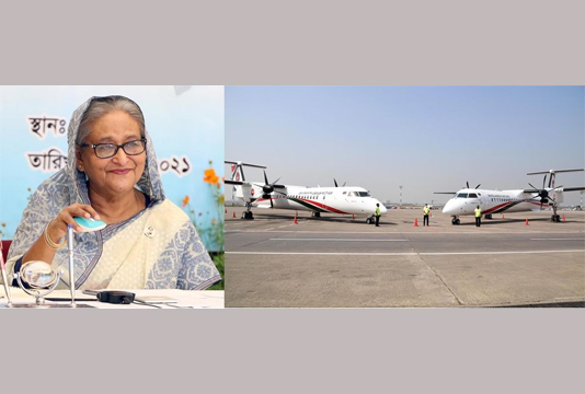 PM commissions two new Dash 8-Q400 aircrafts into Biman