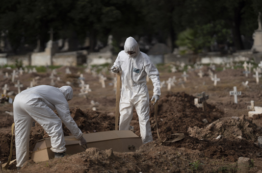 Brazil sees 2,165 more COVID-19 deaths