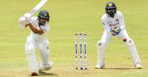 Shanto's maiden ton put Bangladesh on top
