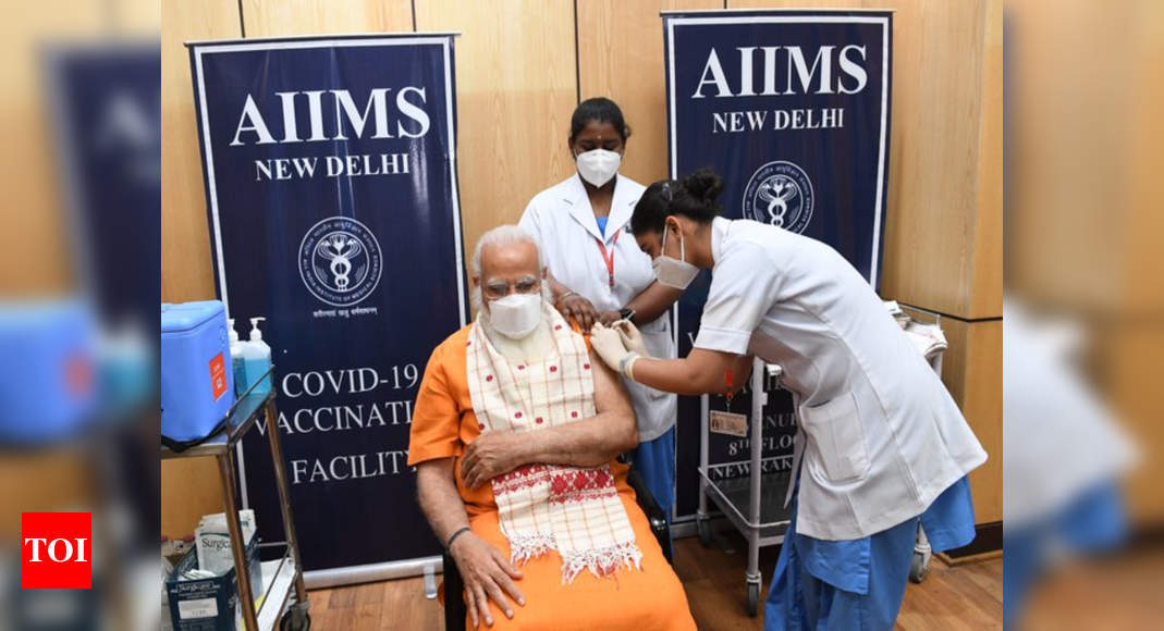 Indian PM Modi takes second dose of COVID-19 vaccine at AIIMS