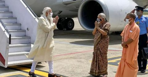Indian PM Modi lands in Varanasi, received by UP Guv, CM