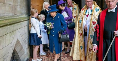 Queen Elizabeth II in rare outing with walking stick